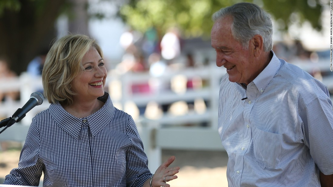 Democratic presidential hopeful and former U.S. Secretary of State Hillary Clinton speaks at a news conference with former U.S. Sen. Tom Harkin on August 15.