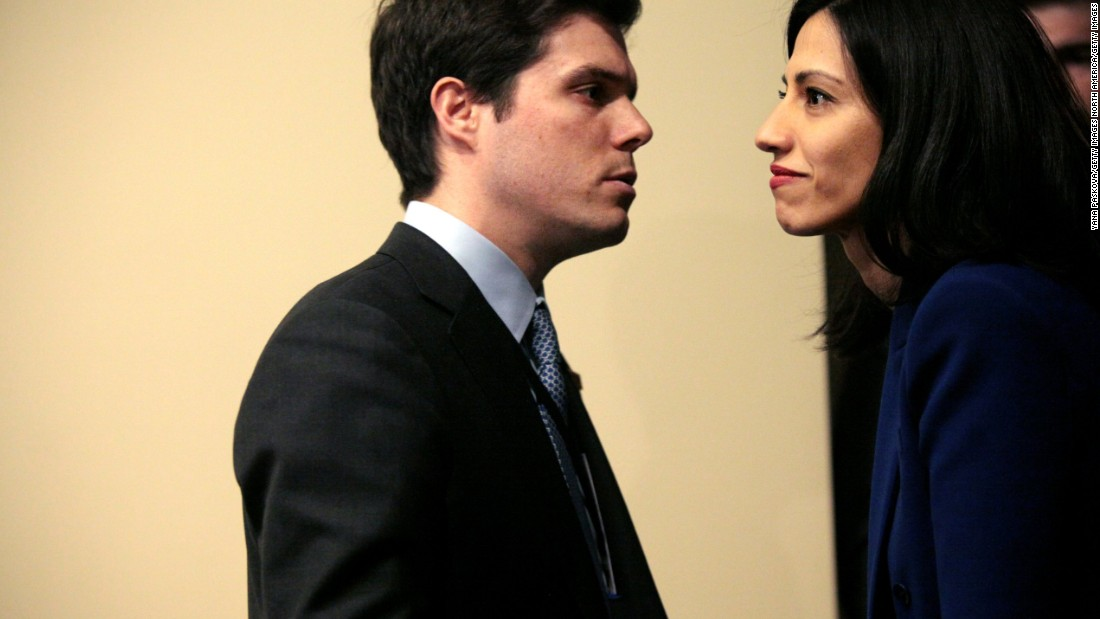 Abedin (right) looks on during a news conference following Clinton's keynote speech at a Women's Empowerment Event at the United Nations on March 10.