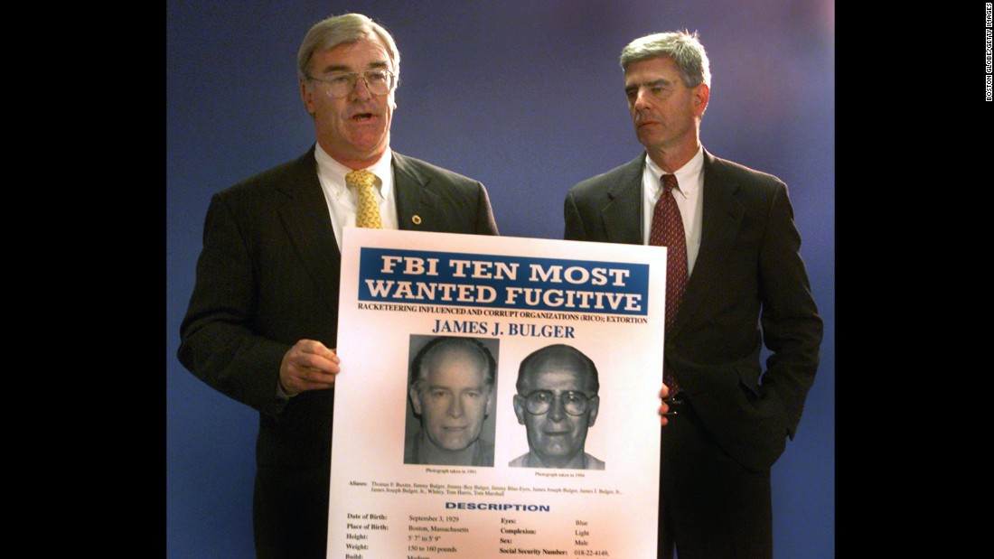 Special agent Barry Mawn and U.S. Attorney General Donald Stern hold a news conference naming Bulger to the FBI's Most Wanted List in August 1999. After more than 16 years on the run, Bulger and Greig were captured in California.