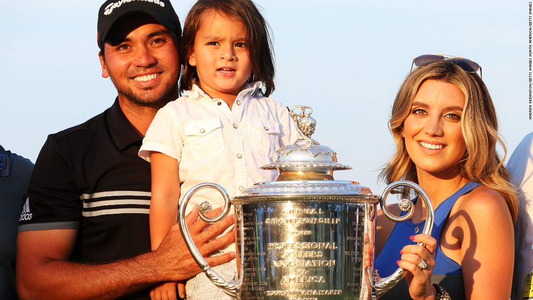 Jason Day with his pregnant wife Ellie and son Dash after winning the 2015 PGA Championship.
