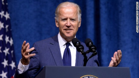 US Vice President Joe Biden speaks at a memorial service to honor those killed In Chattanooga shooting at University of Tennessee at Chattanooga's McKenzie Arena on August 15, 2015 in Chattanooga, Tennessee.