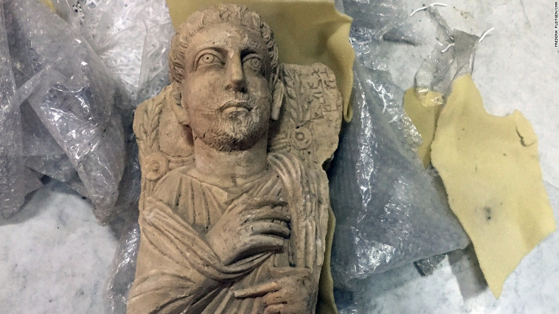 This Roman statue was rescued from Palmyra ahead of ISIS' advance earlier this year. It will be catalogued, boxed up and shipped to a secret and safe location.