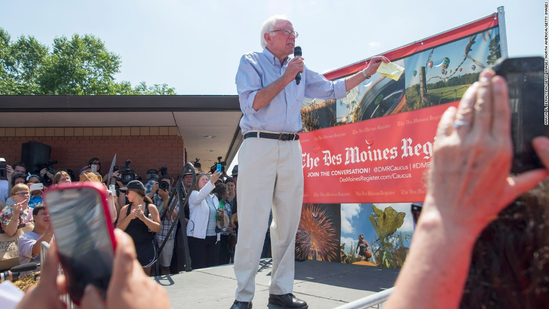 Democratic presidential candidate and U.S. Sen. Bernie Sanders, I-Vermont, speaks at the Des Moines Register Soapbox on Saturday, August 15.