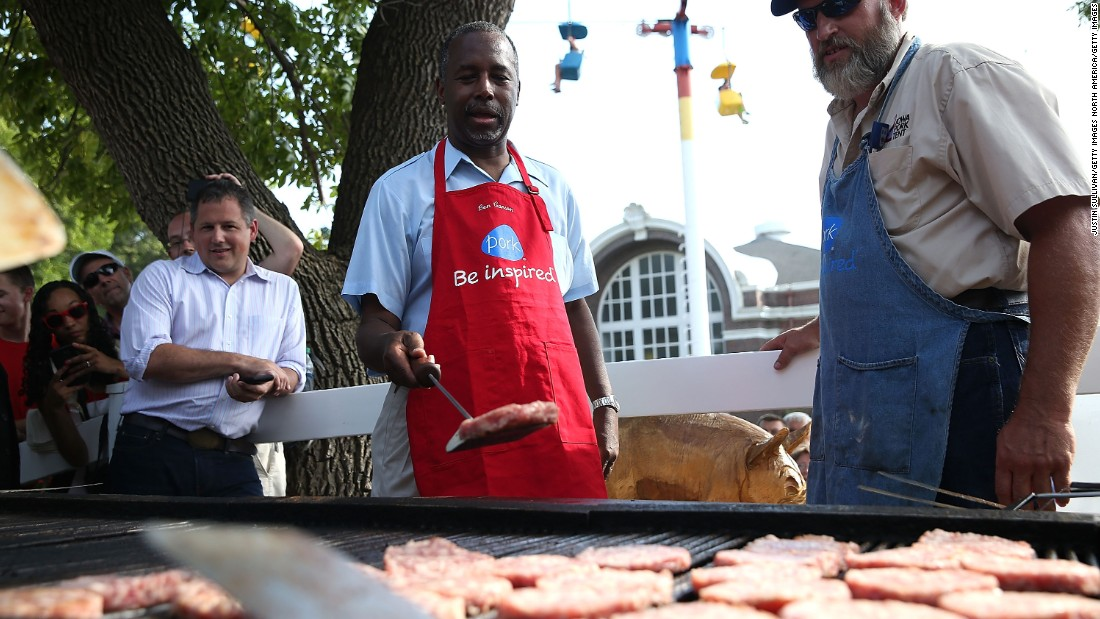 Carson flips a pork burger on August 16.