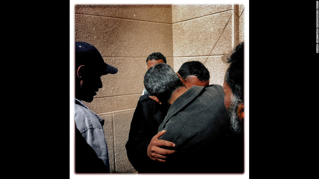 People mourn for their fallen brother outside a mosque in Ajdabiya in March 2011. The trip to Libya was Brown's first experience in armed conflict.