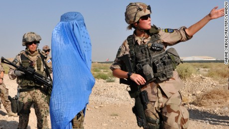 Female Swedish soldiers are seen here at a U.S.-led training session in Afghanistan in 2012.
