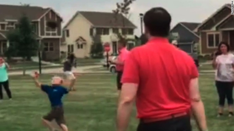 Rubio hits kid with football