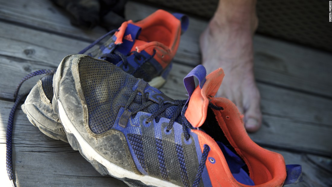 Steindl's battered trainers -- and tender feet -- at the end of his epic run.