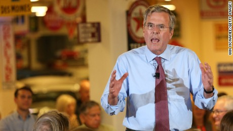 Jeb Bush speaks August 13, 2015, in Ankeny, Iowa.