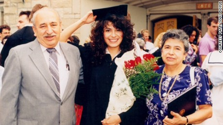 The author with her parents at her graduation from Northwestern University in 1989.
