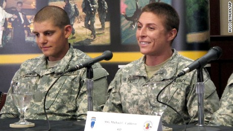 U.S. Army 1st Lt. Shaye Haver (right) and U.S.  Army Capt. Kristen Griest are the first two women to become  Army Rangers.
