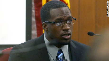 In this photo taken on Thursday, Aug. 20, 2015, Sam Ukwuachu takes the stand during his trial at Wacos 54th State District Court, in Waco, Texas. The one-time All-American who transferred to play football at Baylor University has been convicted of sexually assaulting a fellow student athlete in 2013.  (Jerry Larson/Waco Tribune-Herald via AP) MANDATORY CREDIT