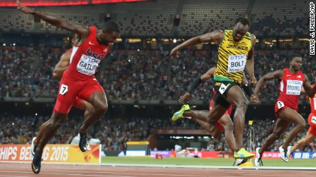 Usain Bolt crosses the finish line to win 100m gold at the 2015 World Athletics Championships.