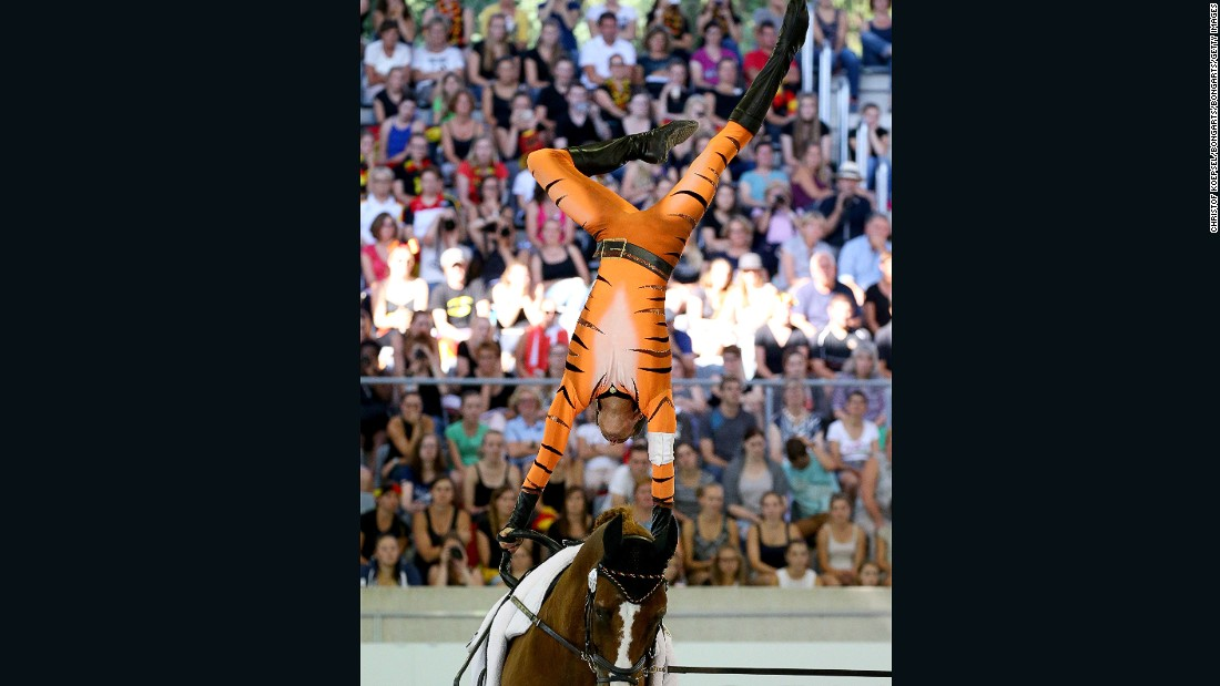 Thomas Bruesewitz, who was second in the final, performs on his horse Airbus in Aachen last August.