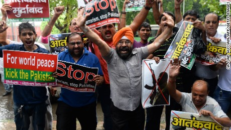 Indian protesters shout anti-Pakistan slogans in New Delhi on August 9, 2015.