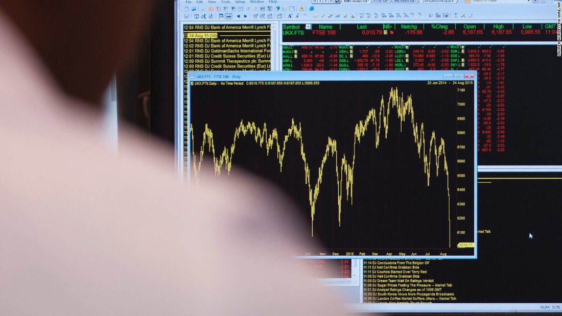An office worker in London views a graph showing the FTSE 100 Index falling on August 24.