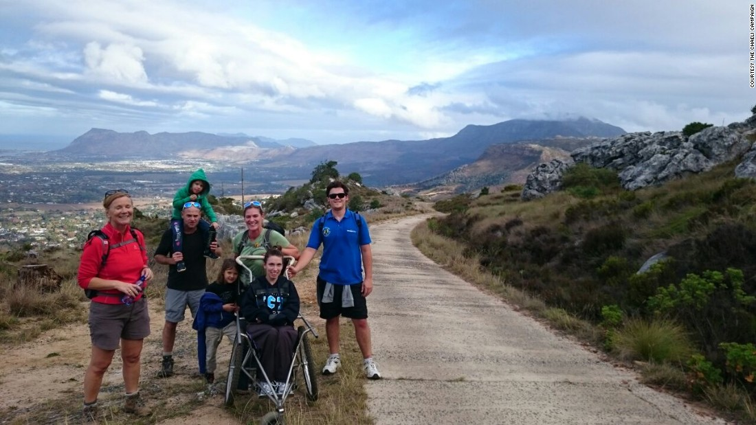 "Chaeli Mycroft and some members of the ""Chaeli Kili Climbers"" team during training in late May. The 20-year-old will attempt to climb Kilimanjaro's summit in a custom-built, lightweight and ultra-manoeuvrable chair."