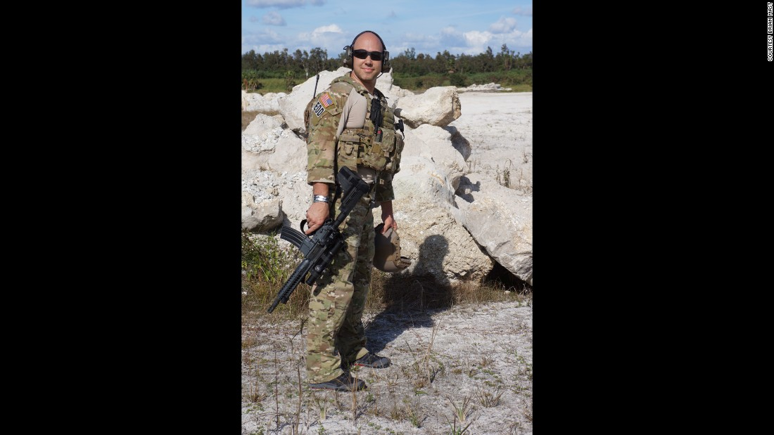 Brian Mast serving in the US Army, Joint Special Operations Command in Afghanistan prior to his injuries.