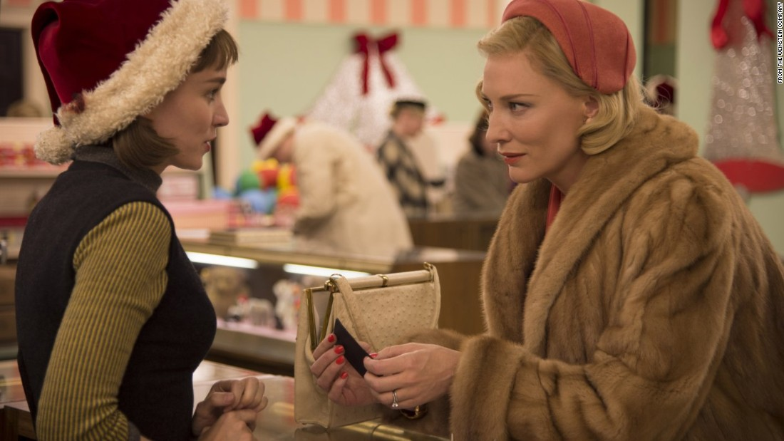 "<strong>""Carol""</strong> co-stars Oscar winner Cate Blanchett, right, and Rooney Mara as two women who develop a relationship in 1950s New York. It's based on a short story by Patricia Highsmith, better known for her stories about Tom Ripley. Mara won best actress at Cannes for her performance. Todd Haynes (""Far From Heaven"") directs. It opened November 20."