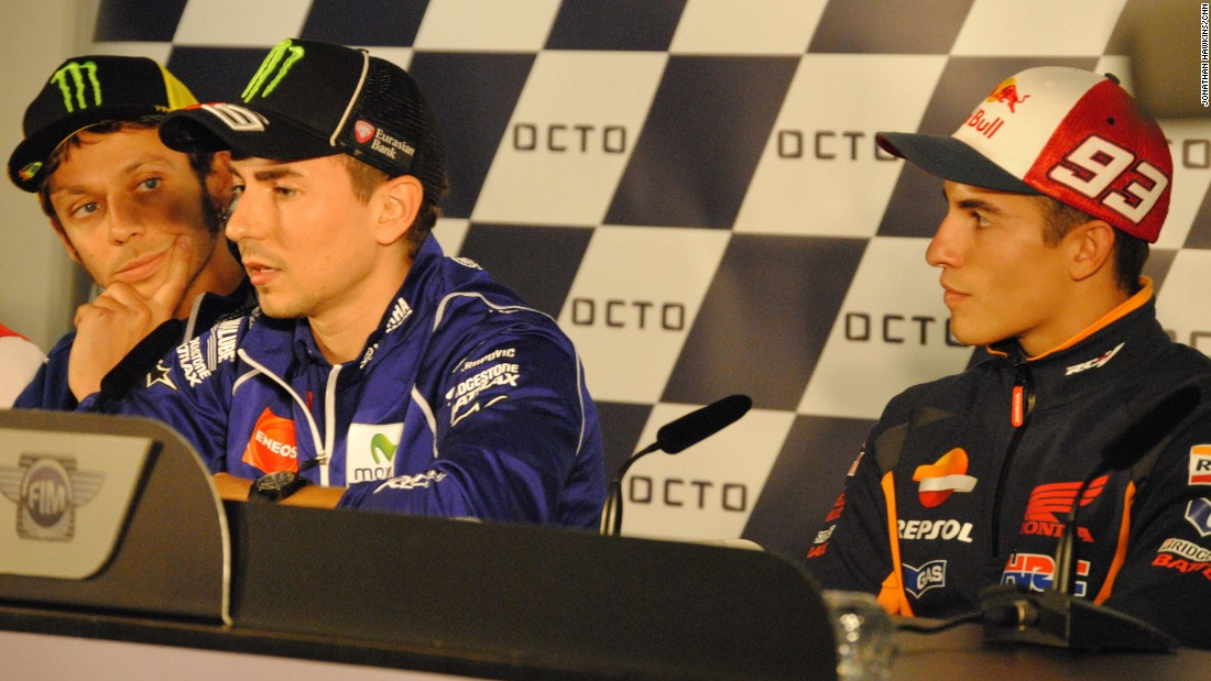 Rossi, Lorenzo and reigning world champion Marc Marquez at Thursday's press conference at Silverstone. Marquez currently lies third in the championship, a distant 52 points behind.