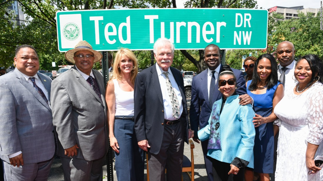 Turner was honored in Atlanta on July 21 for his contributions to the city and the world of news. A few blocks from CNN Center, Spring Street was renamed Ted Turner Drive.