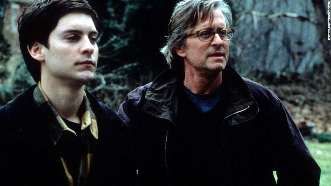 "In 2000's ""Wonder Boys,"" Michael Douglas, right, plays a novelist and English professor whose messy private life is arguably worse than his professional failures."