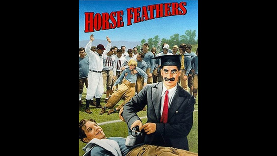"In the 1932 Marx Brothers flick ""Horse Feathers,"" a university president hires a couple of ringers to help his football team beat the school's rivals."