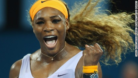 Serena Williams of the USA celebrates winning her finals match against Victoria Azarenka of Belarus during day seven of the 2014 Brisbane International at Queensland Tennis Centre on January 4, 2014 in Brisbane, Australia.