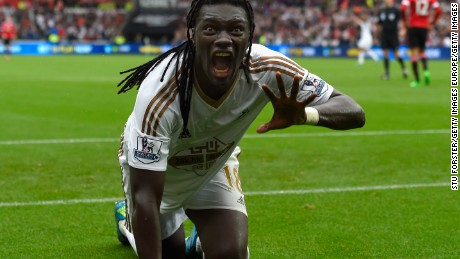 Swansea striker Bafetimbi Gomis celebrates after scoring the winner against Manchester United.