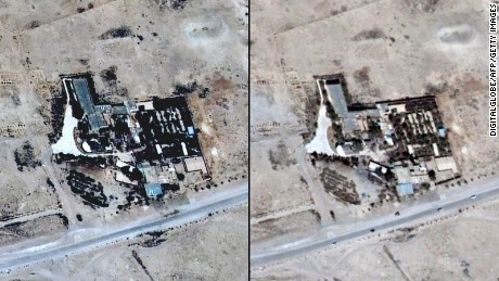 Satellite images of the Baal Shamin temple seen on June 26, 2015 in Syria's ancient city of Palmyra and the same location on August 27, 2015. Image by UNITAR-UNOSAT.