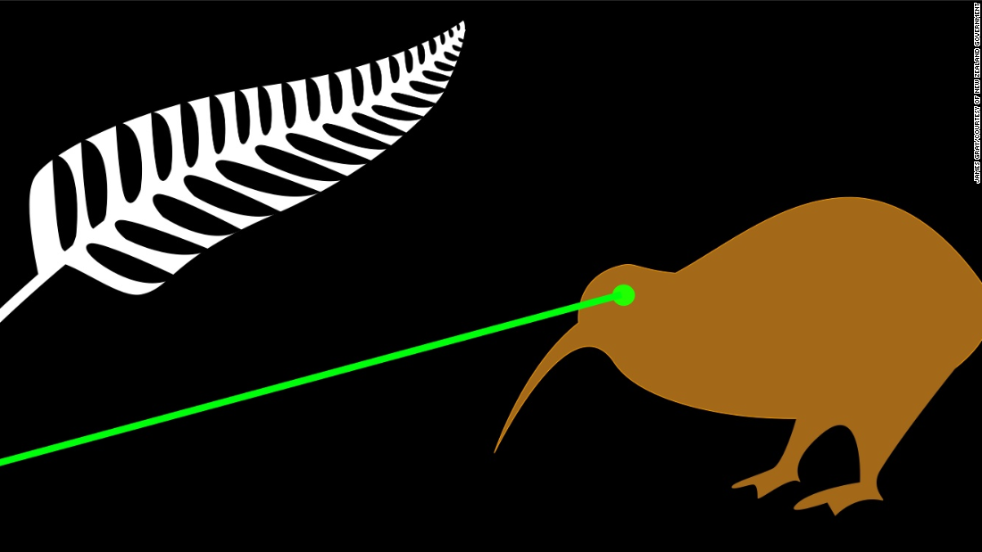 """The laser beam projects a powerful image of New Zealand. I believe my design is so powerful it does not need to be discussed,"" said James Gray, who created this widely-shared flag."
