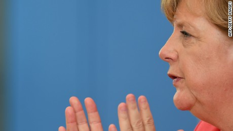 German Chancellor Angela Merkel gestures as she addresses a press conference in Berlin on August 31, 2015. AFP PHOTO / JOHN MACDOUGALLJOHN MACDOUGALL/AFP/Getty Images