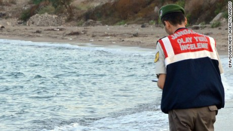 The body of a drowned baby washes up on Turkish beach