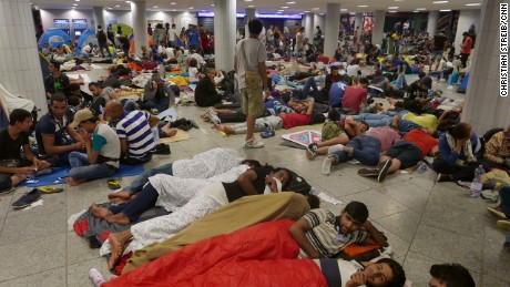 Lower ground of Keleti Station filled with hundreds of refugees overnighting on September 2, 2015.