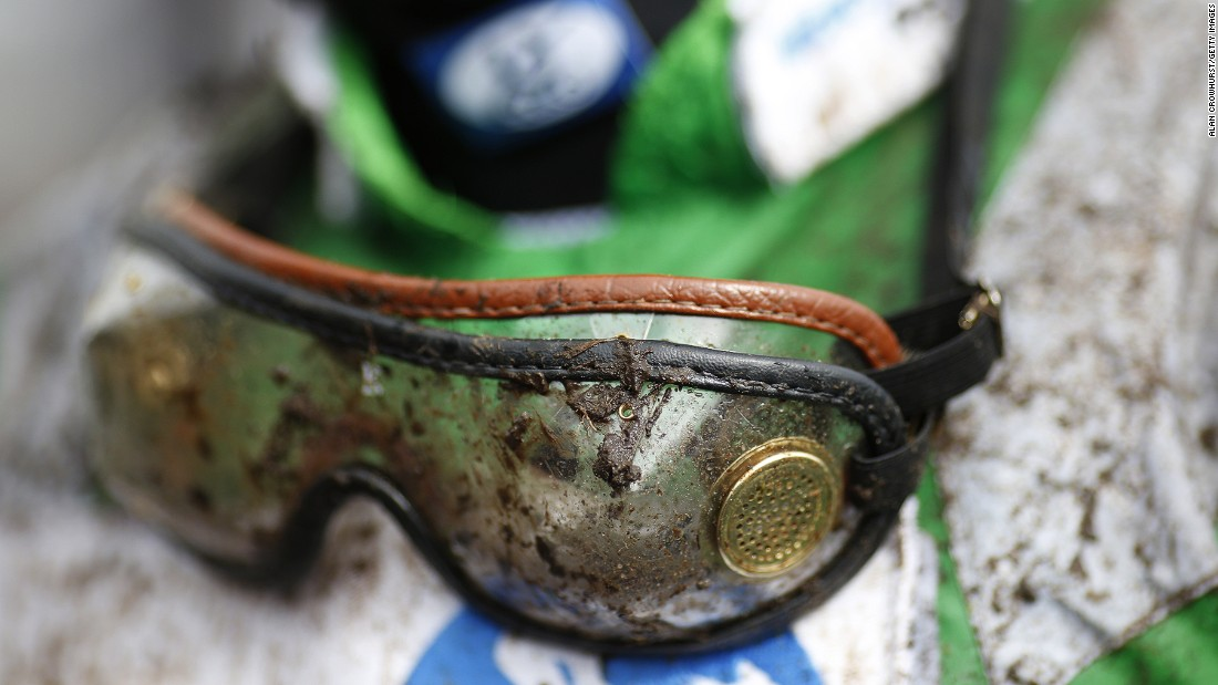 BRIGHTON, ENGLAND - AUGUST 24: A muddy pair of jockeys goggles at Brighton racecourse on June 24, 2015 in Brighton, England. (Photo by Alan Crowhurst/Getty Images)