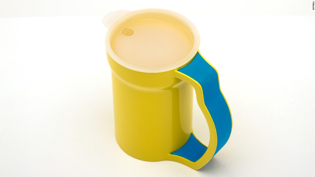 The yellow handled cup provides additional support, which prevents accidental spills, and is designed for patients with physical limitations, such as arthritis.