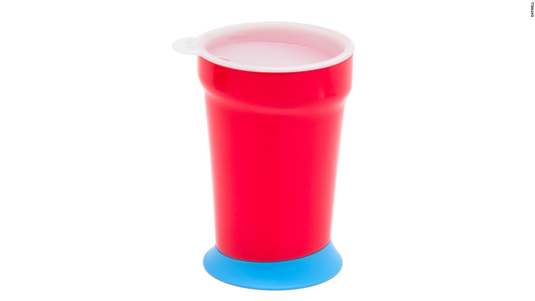 The red cup features a stabilized rubber base and a lid, which help prevent accidental spills.