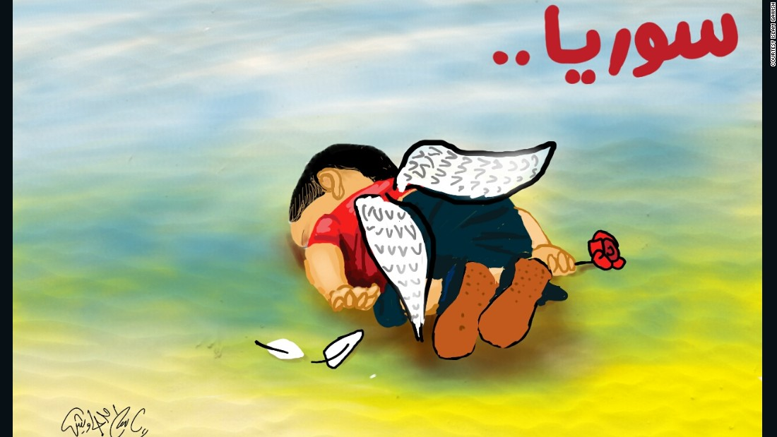 "Illustration by <a href=""https://twitter.com/islamgawish/status/639107715063775233/photo/1"" target=""_blank"">Islam Gawish</a>, an Egyptian cartoonist: ""This child who wanted freedom, has been killed by the fear of war, the war that he was not a part of."""