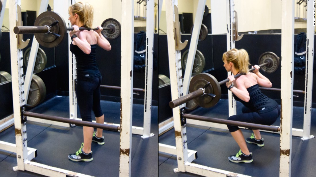 This squatting movement promotes total-body strength with a particular emphasis on the legs and core. Make it a goal to  squat your body weight for three repetitions.