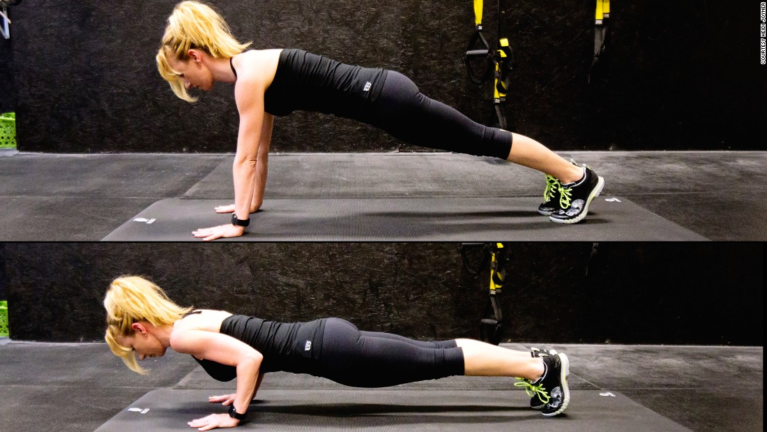 This pushing movement promotes strength in the arms, shoulder girdle, back and core. Make it a goal to perform 5 to 10 unmodified pushups with perfect form.