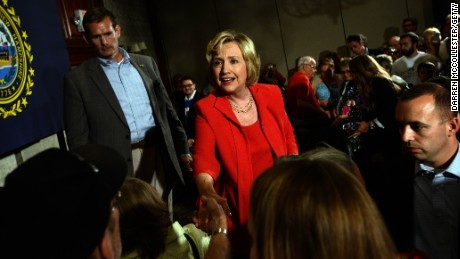 Hillary Clinton greets people following a Reception for New Hampshire Organized Labor Community and Allies event September 5, 2015 in Manchester, New Hampshire. (Photo by Darren McCollester/Getty Images)