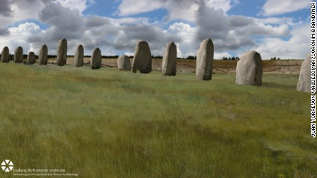 The image shows an impression of how the newly discovered stones may be appeared, before or during the time Stonehenge was erected.