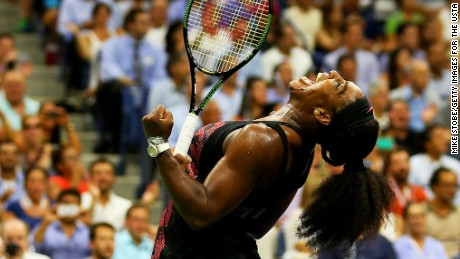 Serena Williams celebrates after defeating Venus Williams in their Women's Singles Quarterfinals match at the 2015 U.S. Open on September 8, 2015 in Queens, New York.