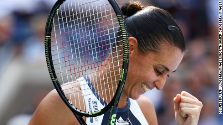 NEW YORK, NY - SEPTEMBER 09:  Flavia Pennetta of Italy celebrates after defeating Petra Kvitova of Czech Republic during their Women's Singles Quarterfinals match on Day Ten of the 2015 US Open at the USTA Billie Jean King National Tennis Center on September 9, 2015 in the Flushing neighborhood of the Queens borough of New York City.  (Photo by Clive Brunskill/Getty Images)