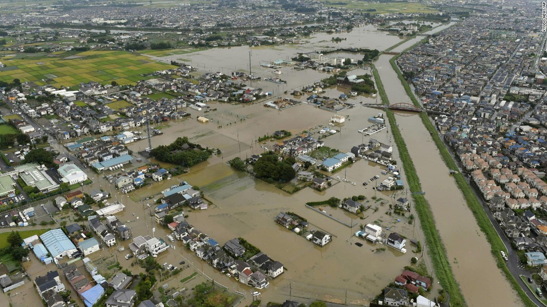 Floodwaters fill streets in the town of Koshigaya, near Tokyo, on September 10.
