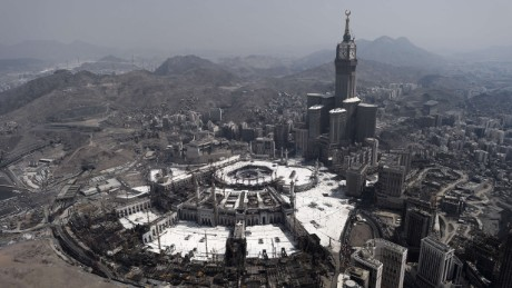Picture taken on October 5, 2014 shows an aerial view of the Clock Tower and the Grand Mosque in Saudi Arabia's holy city of Mecca. AFP PHOTO / MOHAMMED AL-SHAIKHMOHAMMED AL-SHAIKH/AFP/Getty Images