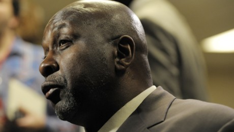 FILE - In a April 14, 2013 file photo, Moses Malone talks to reporters before the start of an NBA basketball game between the Philadelphia 76ers and the Cleveland Cavaliers, in Philadelphia. Malone, a three-time NBA MVP and one of basketballs most ferocious rebounders, died Sunday, Sept. 13, 2015, according to a The Philadelphia 76ers statement. He was 60.  (AP Photo/Michael Perez, File)