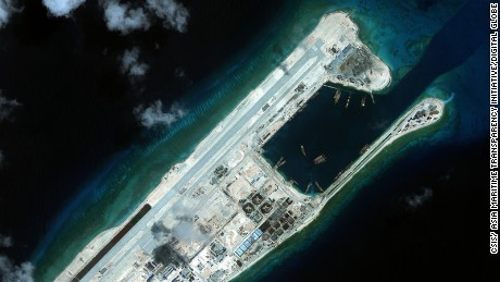 A recent satellite image  shows Fiery Cross Reef in the South China Sea.