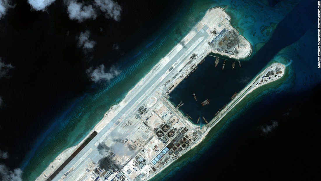 A recent satellite image shows Fiery Cross Reef in the South China Sea, where China has built an airstrip. This latest images shows that paint has been laid on the runway, says Poling.