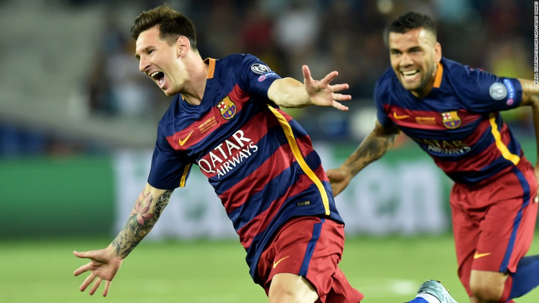 <strong>August 11, 2015: </strong>Leo Messi hit two free kicks past Sevilla in the UEFA Super Cup final, which took place in Tbilisi, Georgia. Pedro's extra-time goal gave Barcelona a 5-4 victory over their rivals.